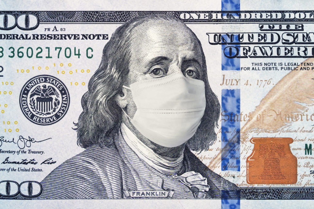 100 Dollar Bill with Medical Face Mask on